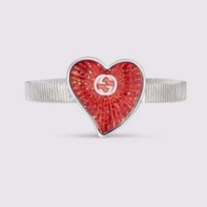 💕HP 10/6💕NWT❤️GUCCI Enameled Heart Ring-6.75(14)